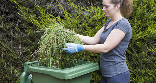 Women putting garden waste in recycling bin