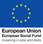 European social fund logo of a circle of yellow stars on a blue background