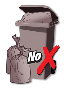 Wrong - wheelie bin with open lid and extra bin bags