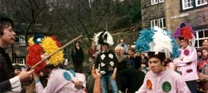 A more recent photo of performers in the village square, Luddenden