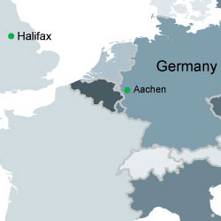 Map of Aachen showing location in relation to Germany