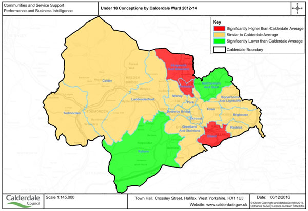 Under 18 conceptions by Calderdale ward 2012-14