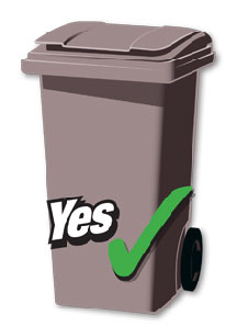 Wheelie bin with closed lid