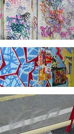 Photographs showing different types of graffiti