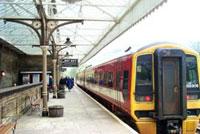 Train in Hebden Bridge Train Station