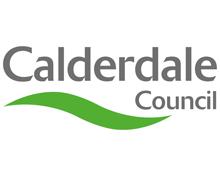 Calderdale Council Logo.  Grey text over a green wave