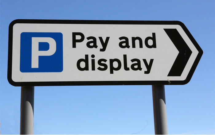 Pay and display car park sign