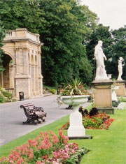 Benches, statues and planting