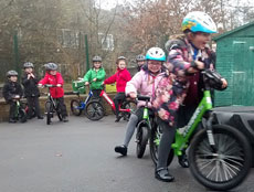 Children taking part in pedal free training