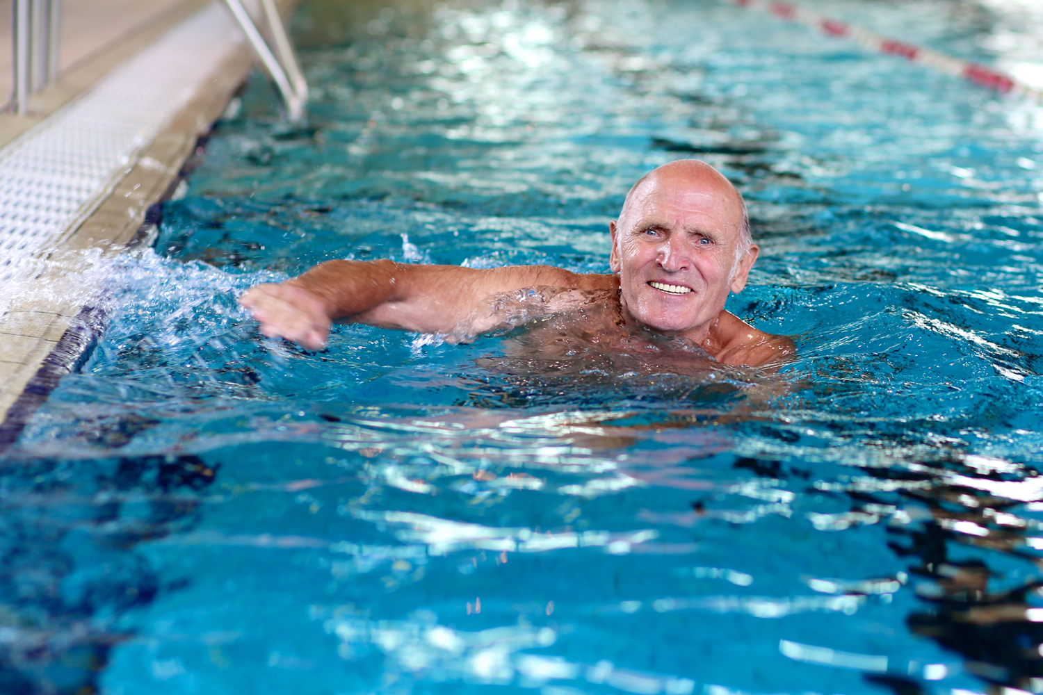 Elderly gentleman swimming