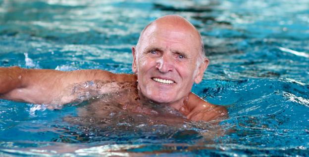 Elderly gentleman swimming