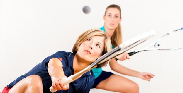 ladies playing squash