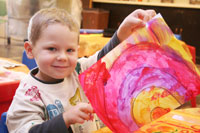 Small child with painting