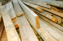 A pile of timber
