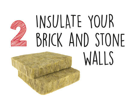 Insulate brick and stone walls