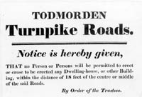 Notice of building restrictions near turnpike roads in Todmorden